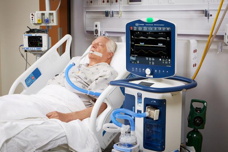 بیمار کرونایی و دستگاه ونتیلاتور
